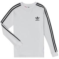 vaatteet Pojat T-paidat pitkillä hihoilla adidas Originals 3STRIPES LS White