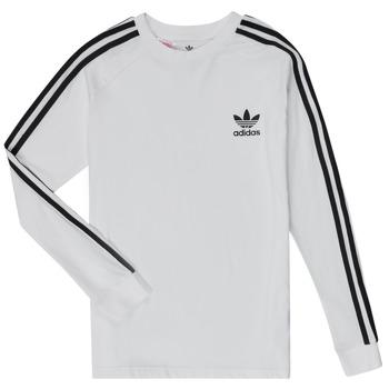 vaatteet Lapset T-paidat pitkillä hihoilla adidas Originals 3STRIPES LS Valkoinen