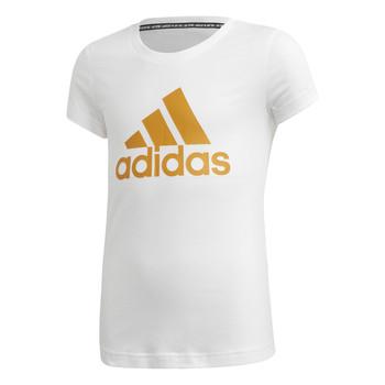 vaatteet Tytöt Lyhythihainen t-paita adidas Performance YG MH BOS TEE White