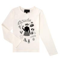 vaatteet Tytöt T-paidat pitkillä hihoilla Emporio Armani 6H3T01-3J2IZ-0101 Valkoinen