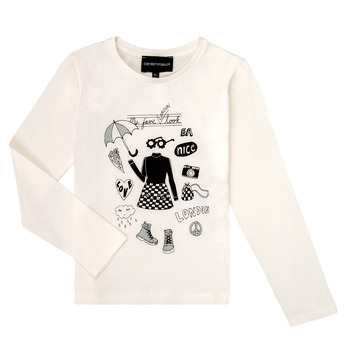 vaatteet Tytöt T-paidat pitkillä hihoilla Emporio Armani 6H3T01-3J2IZ-0101 White