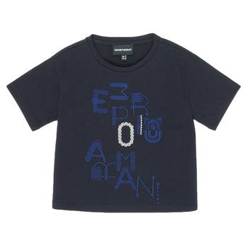 vaatteet Tytöt Lyhythihainen t-paita Emporio Armani 6H3T7R-2J4CZ-0926 Laivastonsininen