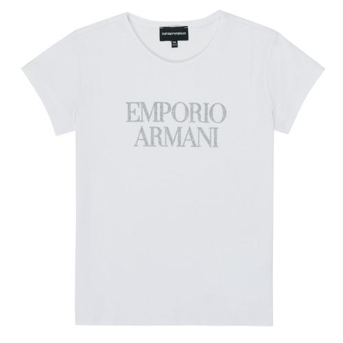 vaatteet Tytöt Lyhythihainen t-paita Emporio Armani 8N3T03-3J08Z-0100 Valkoinen