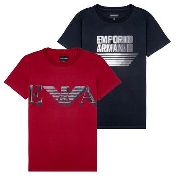 vaatteet Pojat Lyhythihainen t-paita Emporio Armani 6H4D22-4J09Z-0353 Black / Red