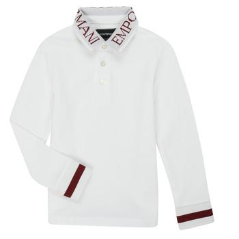vaatteet Pojat Pitkähihainen poolopaita Emporio Armani 6H4FJ4-1J0SZ-0101 Valkoinen