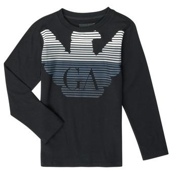vaatteet Pojat T-paidat pitkillä hihoilla Emporio Armani 6H4T17-1J00Z-0999 Black