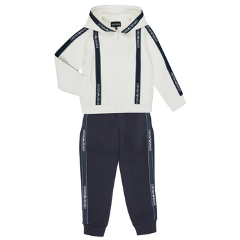 vaatteet Pojat Verryttelypuvut Emporio Armani 6H4V02-1JDSZ-0101 Laivastonsininen / Valkoinen