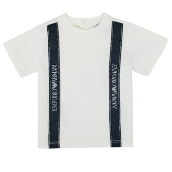 vaatteet Pojat Lyhythihainen t-paita Emporio Armani 6HHTG4-1JTUZ-0101 Valkoinen