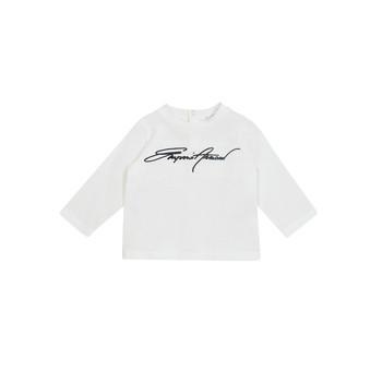 vaatteet Pojat T-paidat pitkillä hihoilla Emporio Armani 6HHTJN-1JTUZ-0101 Valkoinen