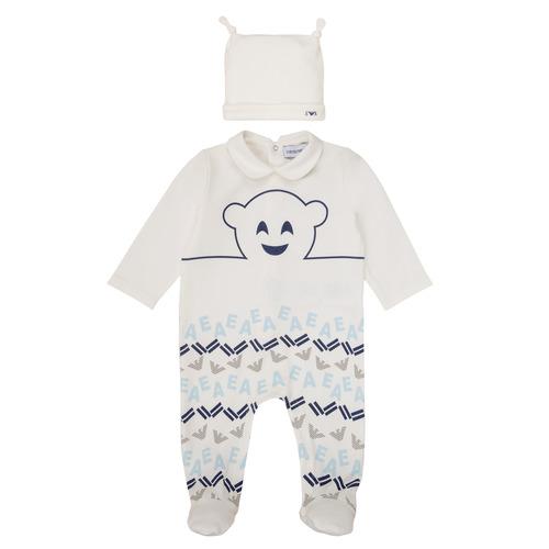 vaatteet Pojat pyjamat / yöpaidat Emporio Armani 6HHV08-4J3IZ-0101 White / Blue