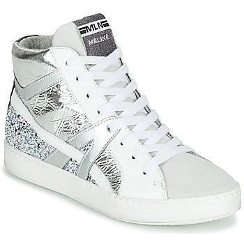 kengät Naiset Korkeavartiset tennarit Meline IN1363 White / Hopea