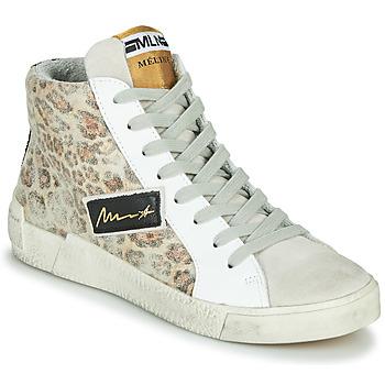 kengät Naiset Korkeavartiset tennarit Meline NK5050 Beige / Leopardi