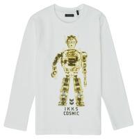 vaatteet Pojat T-paidat pitkillä hihoilla Ikks XR10233 Valkoinen