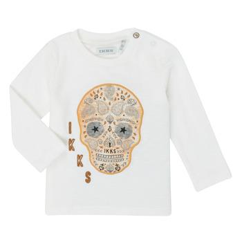 vaatteet Pojat T-paidat pitkillä hihoilla Ikks XR10141 Valkoinen