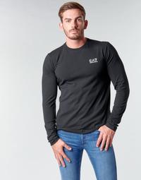 vaatteet Miehet T-paidat pitkillä hihoilla Emporio Armani EA7 TRAIN CORE ID M TEE LS ST Musta / Valkoinen