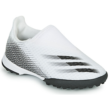 kengät Lapset Jalkapallokengät adidas Performance X GHOSTED.3 LL TF J White