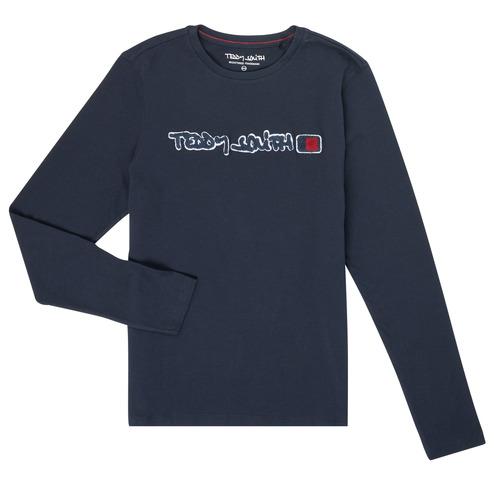 vaatteet Pojat T-paidat pitkillä hihoilla Teddy Smith CLAP Laivastonsininen