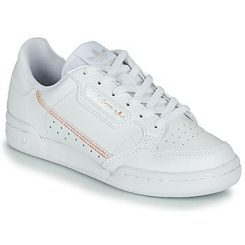 kengät Tytöt Matalavartiset tennarit adidas Originals CONTINENTAL 80 J White