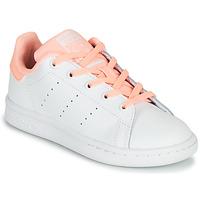 kengät Tytöt Matalavartiset tennarit adidas Originals STAN SMITH C Valkoinen / Vaaleanpunainen