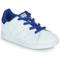 kengät Pojat Matalavartiset tennarit adidas Originals STAN SMITH EL I Valkoinen / Sininen