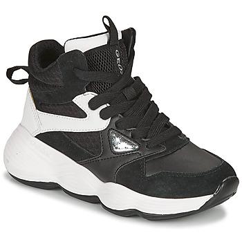 kengät Tytöt Korkeavartiset tennarit Geox BUBBLEX Musta / Valkoinen