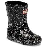 kengät Tytöt Kumisaappaat Hunter KIDS FIRST CLASSIC GLITTER Musta