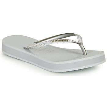 kengät Naiset Varvassandaalit Havaianas SLIM FLATFORM GLITTER Hopea