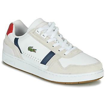 kengät Naiset Matalavartiset tennarit Lacoste T-CLIP 0120 2 SFA Valkoinen / Laivastonsininen / Punainen