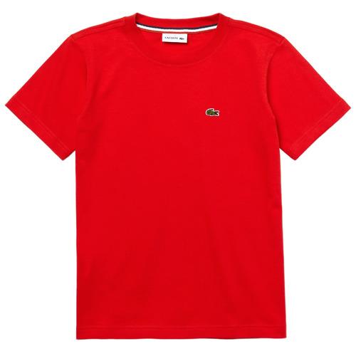 vaatteet Pojat Lyhythihainen t-paita Lacoste TJ1442-F8M-J Red