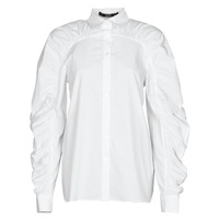 vaatteet Naiset Paitapusero / Kauluspaita Karl Lagerfeld POPLIN BLOUSE W/ GATHERING Valkoinen