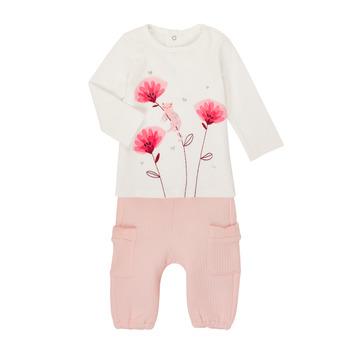 vaatteet Tytöt Kokonaisuus Catimini CR36001-11 White / Pink