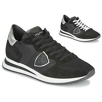 kengät Naiset Matalavartiset tennarit Philippe Model TROPEZ X BASIC Musta / Hopea
