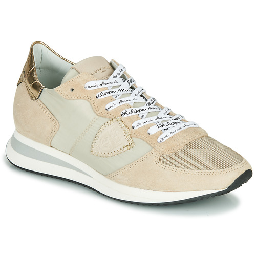 kengät Naiset Matalavartiset tennarit Philippe Model TROPEZ X MONDIAL CROCO Beige