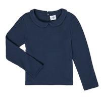 vaatteet Tytöt T-paidat pitkillä hihoilla Petit Bateau LOVING Laivastonsininen