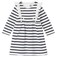 vaatteet Tytöt Lyhyt mekko Petit Bateau LEVRIER Valkoinen / Laivastonsininen