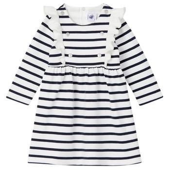 vaatteet Tytöt Lyhyt mekko Petit Bateau LEVRIER White / Laivastonsininen