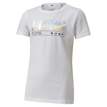vaatteet Tytöt Lyhythihainen t-paita Puma ALPHA TEE White