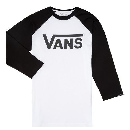 vaatteet Pojat T-paidat pitkillä hihoilla Vans VANS CLASSIC RAGLAN Black / White