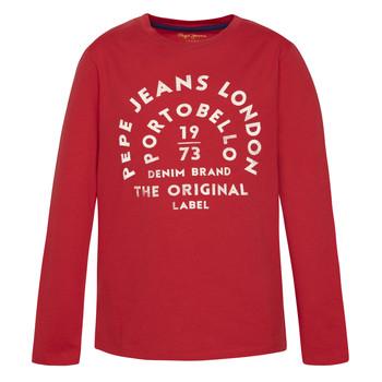 vaatteet Pojat T-paidat pitkillä hihoilla Pepe jeans ANTONI Red