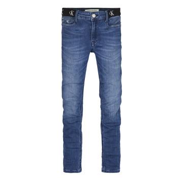 vaatteet Tytöt Skinny-farkut Calvin Klein Jeans IG0IG00639-1A4 Sininen