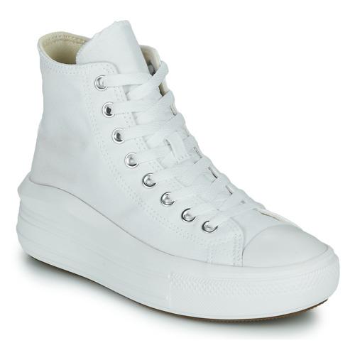 kengät Naiset Korkeavartiset tennarit Converse Chuck Taylor All Star Move Canvas Color Hi Valkoinen