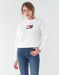 vaatteet Naiset Svetari Tommy Jeans TJW TOMMY FLAG CREW Valkoinen