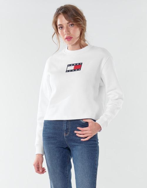 vaatteet Naiset Svetari Tommy Jeans TJW TOMMY FLAG CREW White