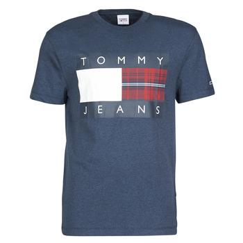 vaatteet Miehet Lyhythihainen t-paita Tommy Jeans TJM PLAID CENTRE FLAG TEE Laivastonsininen