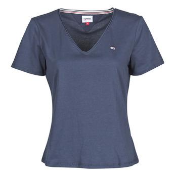 vaatteet Naiset Lyhythihainen t-paita Tommy Jeans TJW SLIM JERSEY V NECK Laivastonsininen