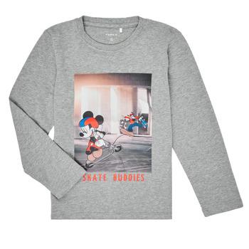 vaatteet Pojat T-paidat pitkillä hihoilla Name it NMMMICKEY EMIL Harmaa