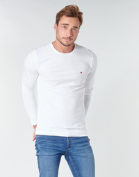 vaatteet Miehet T-paidat pitkillä hihoilla Tommy Hilfiger STRETCH SLIM FIT LONG SLEEVE TEE White