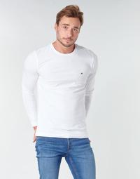 vaatteet Miehet T-paidat pitkillä hihoilla Tommy Hilfiger STRETCH SLIM FIT LONG SLEEVE TEE Valkoinen