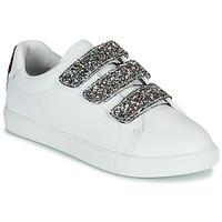 kengät Naiset Matalavartiset tennarit Bons baisers de Paname EDITH GLITTER TONGUE Valkoinen