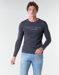 vaatteet Miehet T-paidat pitkillä hihoilla Teddy Smith TICLASS BASIC M Laivastonsininen